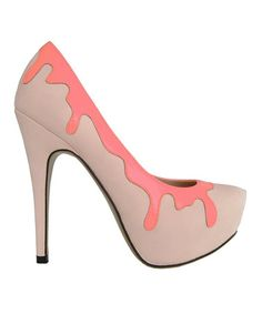 a480ac50b066 Take a look at this Beige  amp  Neon Peach Drips Whipped Cream Pump by  Fiebiger