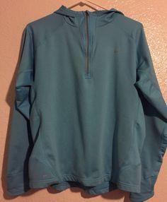 Womens Nike Dri Fit Jacket XL Teal Workout Athletic Sport Running Blue Hood #Nike #CoatsJackets