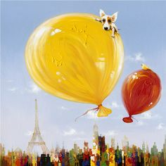 Bring a note of Parisian flair to your setting with the Yosemite Home Decor Balloons Over Paris Wall Art . This artwork boasts vibrant-hued balloons. Acrylic Wall Art, Canvas Wall Art, Wall Art Prints, Red Wall Art, Yellow Wall Art, Skyline Painting, Oil Painting Abstract, Paris Painting, Textured Painting