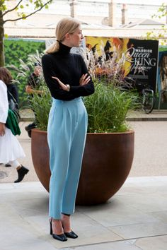 - A pretty sky blue pant looks über-chic and refined when teamed with a black turtleneck and pumps.