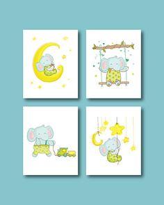 Elephant Nursery Art Print  Baby Elephant 4 by HappyLittleBeans