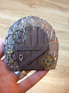 Gears are a pretty cool idea Frederic, Clay Fairies, Gnome, Fairy Doors, Fairy Gardens, Clay Projects, Dwarf, Pretty Cool, Wood Watch