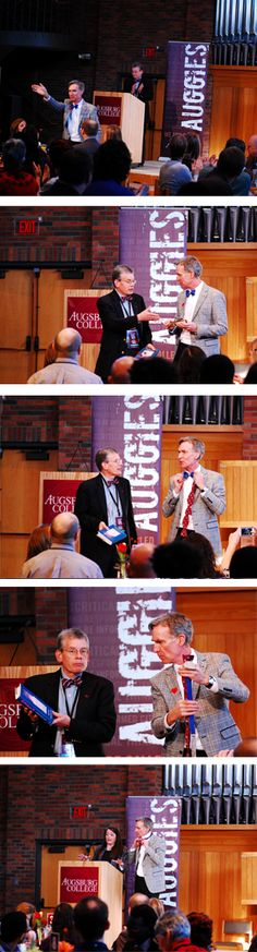 If bow ties are awesome, Augsburg College bow ties are EVEN MORE awesome. Bill Nye couldn't wait to exchange his blue neckwear for Auggie maroon.