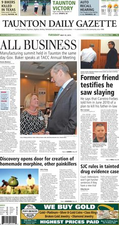 The front page of the Taunton Daily Gazette for Tuesday, May 19, 2015.