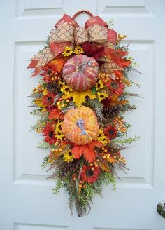 Fall Pumpkin Swag with Sunflowers - Timeless Floral Boutique Fall Deco Mesh, Deco Mesh Wreaths, Fall Wreaths, Christmas Wreaths, Door Wreaths, Warm Colour Palette, Warm Colors, Fall Swags, Chevron Burlap