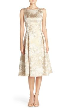 Gold floral tea length dress. Beautiful neutral short dress for mother-of-the-bride.