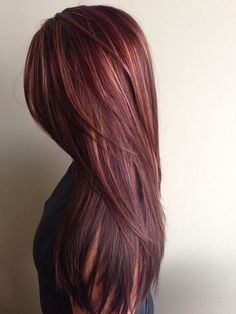 chocolate brown hair with caramel and red highlights - Google Search----si jamais la folie me prends de retourner à la couleur!!