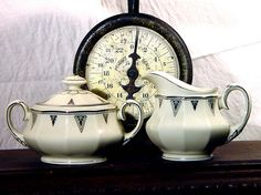 Community China Deauville Sugar Bowl And Creamer Set 1920s Art Deco Platinum Trim Roaring Twenties Black and White | Flickr - Photo Sharing!...