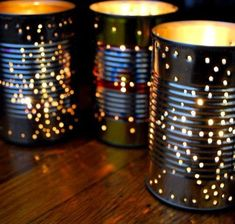 Drill holes into tin cans and put candles in them. Lovely for an outdoor party or along the driveway. #diypartyoutdoor