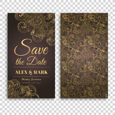 Invitación de boda con diseño marrón y dorado Vector Gratis