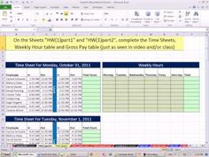 Excel 2010 Business Math 44: Payroll Time Sheets, IF Function For Overti...
