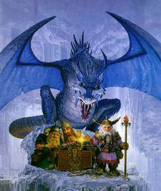 Dragón azul y enanos, de Keith Parkinson
