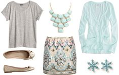 Grey tee, fancy skirt, boyfriend cardi and a statement necklace with nude flats and coordinating earrings.
