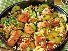 Zucchini-Lachs-Pfanne #Lachs #Zucchini #Herzhaft