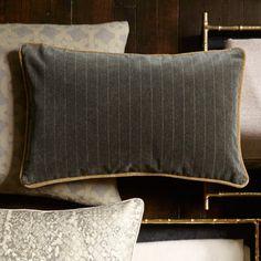 Velvet Menswear Stripe Pillow Cover, Charcoal | Williams-Sonoma