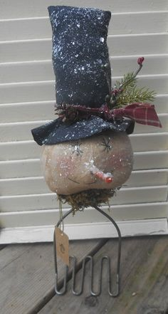 Primitive Grungy Snowman Potato Masher Sitter Holiday Handmade Sitter Christmas #NaivePrimitive