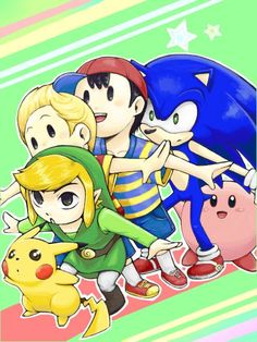 Super Smash Bros.-Pikachu, Toon Link, Ness, Sonic and Kirby