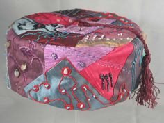 Handmade Smoking Cap - Lounging Hat - Crazy Patchwork Silk Multicoloured Embroidery With Beads