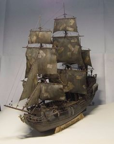 Black Pearl Sail ship 1/96 scale 3d Laser Cut DIY Model Kit