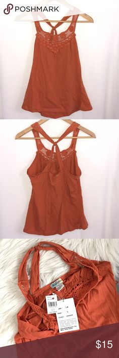 """NWT Burnt Orange Crochet Trim Cotton Tank Top L M New with tags burnt orange color tank top. Crochet straps and on front.  Criss Cross straps in back.  Elastic on back. Pit to pit laying flat 15.5"""" length 24"""".   100% cotton.  Check measurements.  I think this fits more like a medium. Rebellion Tops Tank Tops"""