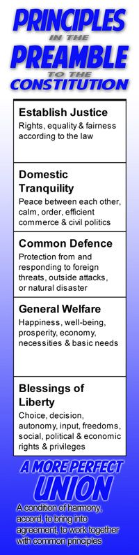 Preamble-Principles.jpg Chapter 3 is about the Constitution. The Preamble to the Constitution contains 6 principles meant to guide our country's decisions. What are your principles? How do they help guide your behaviors, actions, choices, and decisions?