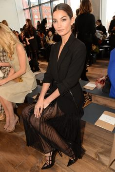 Lily Aldridge  Front Row at Michael Kors [Photo by Steve Eichner]
