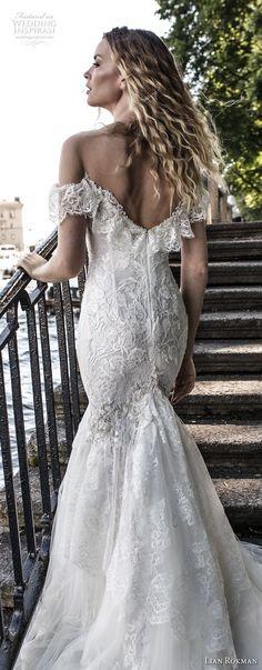 lian rokman 2018 bridal short sleeves off the shoulder sweetheart neckline full embellishment romantic mermaid wedding dress chapel train (5) zbv -- Lian Rokman 2018 Wedding Dresses