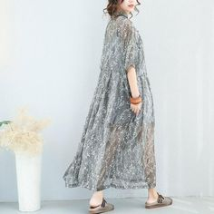 National Vintage Silk Printed Button Down Silk Casual Loose Long Dress 7118 Dresses For Teens, Trendy Dresses, Casual Dresses, Formal Dresses, Wedding Dresses, Dress Brokat, Kebaya Dress, Kebaya Hijab, Muslimah Wedding Dress