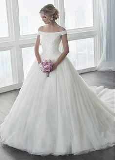 Sparkling Tulle & Satin Off-the-shoulder Neckline Ball Gown Wedding Dresses With Beadings