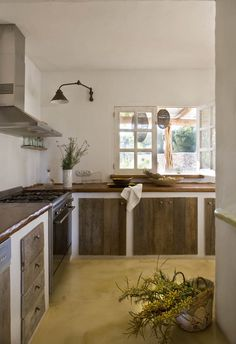 simple lovely kitchen--wood cabinet doors w/ white base, open walls( no uppers), light.