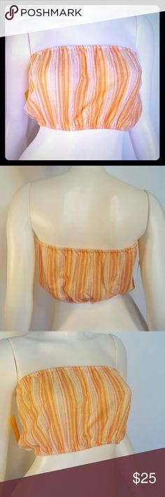 """NWT 70s Vintage Pink &Orange Terry Cloth Tube Top Length: 8"""" One size - XS/S Excellent condition 80% Cotton 20% Polyester Made in USA First picture is best representative of color #70s #80s #vintage Tops"""