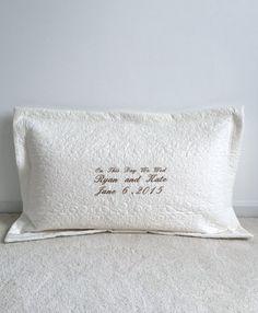 Wedding / Anniversary Pillow Sham - Standard/Queen Size Quilted Pillow Sham in Ivory Custom Quilt Heirloom Wedding Quilt Ivory White