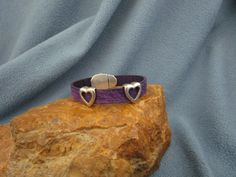 10mm Distressed Purple Flat Leather Bracelet with 2 Silver Open Heart Sliders and Magnetic Clasp