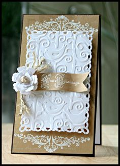 Fabulous!!!  A Wedding Card using JustRite Stamps and Spellbinders by @Kazan Clark Clark Clark