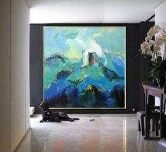 Grande toile d'Art contemporain peinture, tableau Art acrylique abstrait toile Art. Vert, bleu, rose - par Leo, Céline Ziang Art.