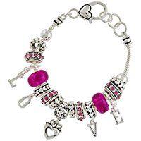 Love Charm Bracelet Z3 Fuchsia Pink Murano Beads Crystal Silver Tone