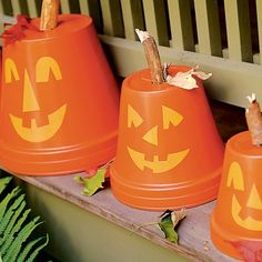 1. For each one, invert a terra-cotta pot. Cut eyes, a nose, and a toothy grin out of yellow craft paper. Brush Mod-Podge Outdoor on the surface of the pot where you want the features to go and press them in place.    2.To weatherproof your creation, apply a final coat to the entire pot. Finally, insert a short, fat stick into the hole for a stem.