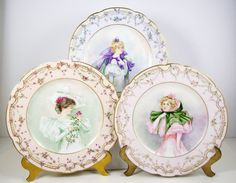 Antique Limoges Portrait Plates Set of 3 by CuteAndSweetVintage,