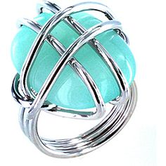 @Overstock - Ultra-modern simplistic ring with aqua oval gemstone wrapped with a three gauge wire band to create a fluid statement piece.http://www.overstock.com/Jewelry-Watches/Silvertone-Wire-wrapped-Aqua-colored-Stone-Cocktail-Ring/6328277/product.html?CID=214117 $18.49