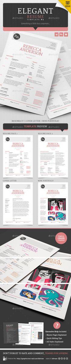 Elegant Resume/CV Resume Template PSD, InDesign INDD. Download here: http://graphicriver.net/item/elegant-resumecv-v1/5359564?s_rank=125&ref=yinkira