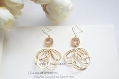 Peach earrings,champagne earrings, peach and gold earrings,peach stone earrings,bridesmaid earrings,bridesmaid's earrings, wedding earrings by DivyankaLatwal on Etsy
