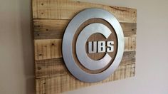 Hand Crafted Chicago Cubs MLB Sign with metal Style logo cut from high grade MDF, hand sanded and ground for a reflective finish accented with a