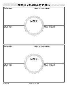 Free Frayer Model vocabulary graphic organizers.