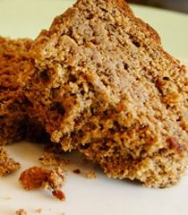 Winter morning banana bread:  Moist & Rich in Omegas, whole foods, nutrient dense, powder ingredients include flax, nuts, coconut, sprouted grains; gluten-free version available