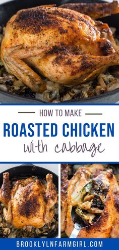 Oven Roasted Whole Chicken and Cabbage meal, ready in 1 hour.  This simple recipe makes juicy chicken on the inside and crispy skin on the outside. Oven Roasted Whole Chicken, Roast Chicken Recipes, Easy Meat Recipes, Cabbage Recipes, Stuffed Whole Chicken, Sunday Dinner Recipes, Best Dinner Recipes, Chicken And Cabbage, Slow Cooker Ribs