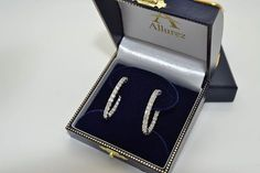 These small white gold oval shape hoop earrings have vivid white round cut diamonds set in a prong setting in a unique inside outside pattern. Shop for petite oval shaped hoops. Diamond Hoop Earrings, Diamond Studs, Women's Earrings, Princess Cut Diamonds, Round Cut Diamond, Cute Jewelry, Beautiful Earrings, Fashion Jewelry, White Gold