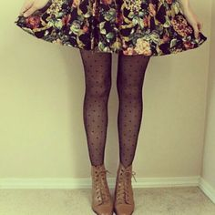 Skirt, check.  Tights, check.  Boots, check.  Want-to-have-this-outfit-right-now...check.  || via The Moptop
