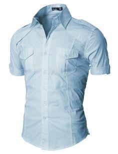Mens Dress Shirt with Epaulet Half Shirts, Cool Shirts, Casual Shirts, Casual Look For Men, Men Casual, Big Fashion, Mens Fashion, Moda Converse, Shirt Jacket