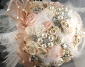 Bridesmaids Brooch Bouquets Wedding Bouquets in Blush Pink, Grey, Champagne and Ivory Vintage Inspired French Beaded leaves. $450.00, via Etsy.