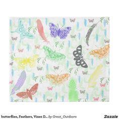 butterflies, Feathers, Vines Duvet Cover